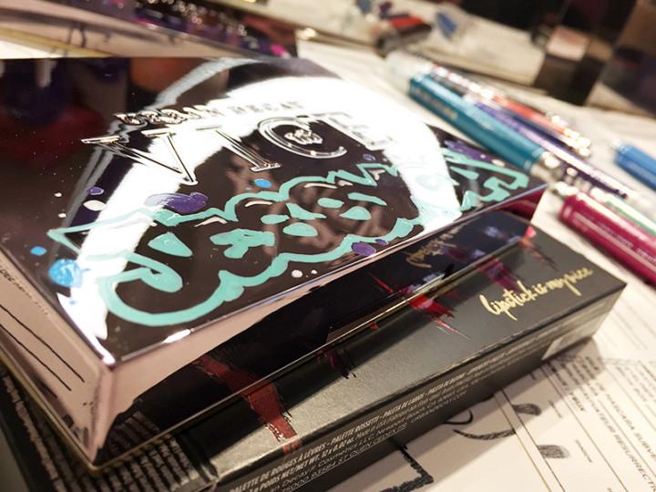 L'oral Shop, Dubai, street art, graffiti, live, lettering.