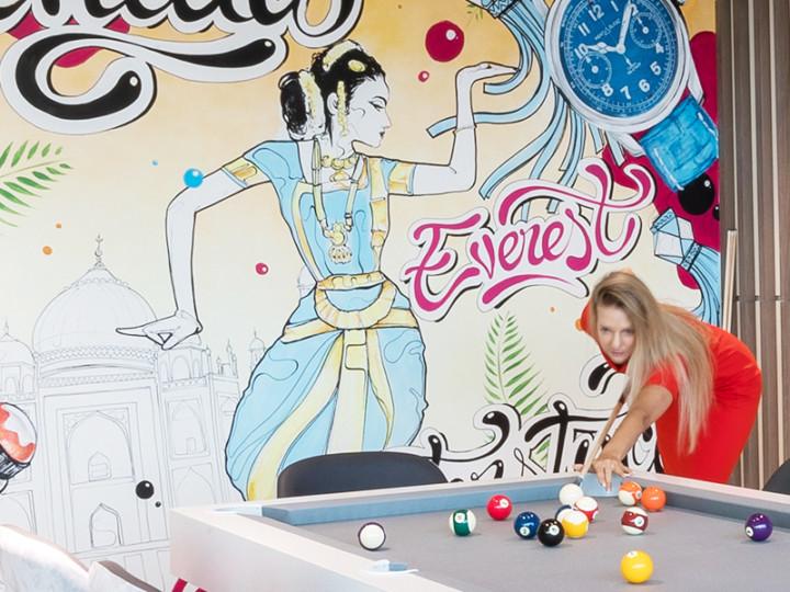 Office decoration, graffiti, street art, Dubai, art, interior design, open Space