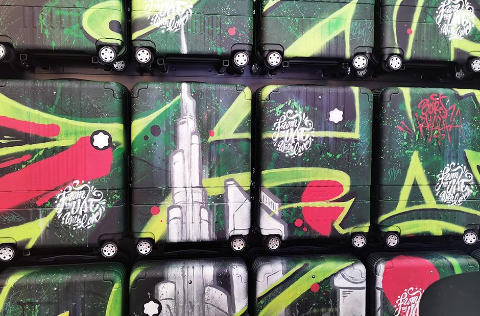 detail, trolley, luggage, luxury, personalization, dubai, art, spray can