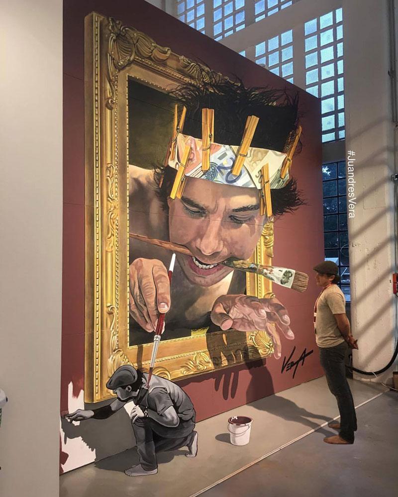 Juandrès Vera, illusion, art, street art, graffiti, wall, design, artwork